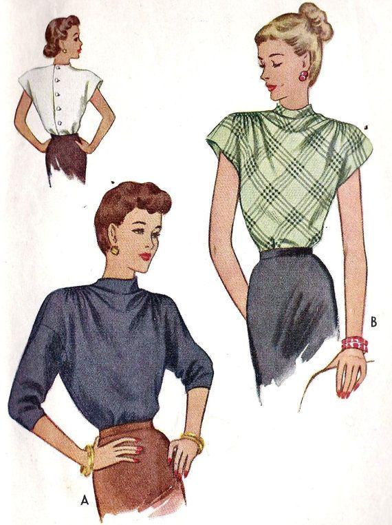 1940s Misses Blouse | Blouses | Pinterest | Costura, Diseños de moda ...