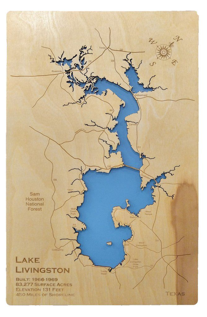 map of lake livingston tx Pin On Standout Laser Cut Wood Lake Maps map of lake livingston tx