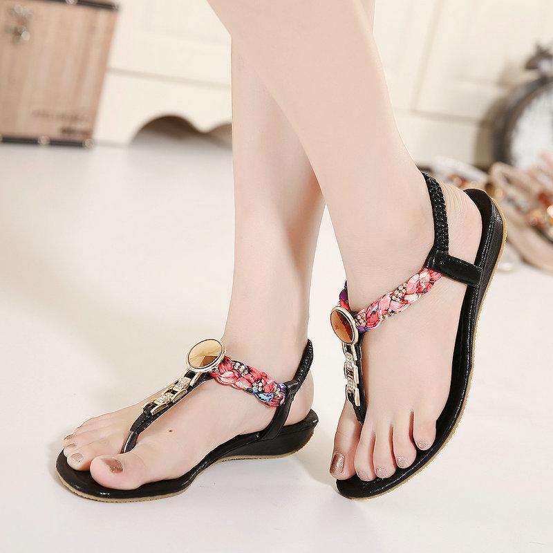 f1a5308b9 UMMEWALO Summer Sandals Women T-strap Flip Flops Thong Flat Sandals  Rhinestone Metal Gladiator Sandal Shoes Zapatos Mujer