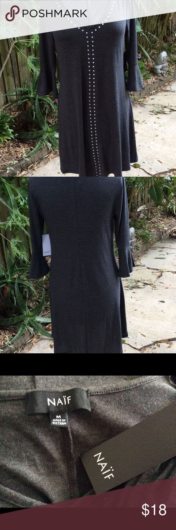 NAÏF Charcoal Gray Knit Dress NWT Bell sleeves NAIF Dresses