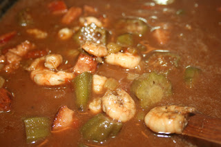 Deep South Dish Shrimp and Andouille Gumbo with Okra