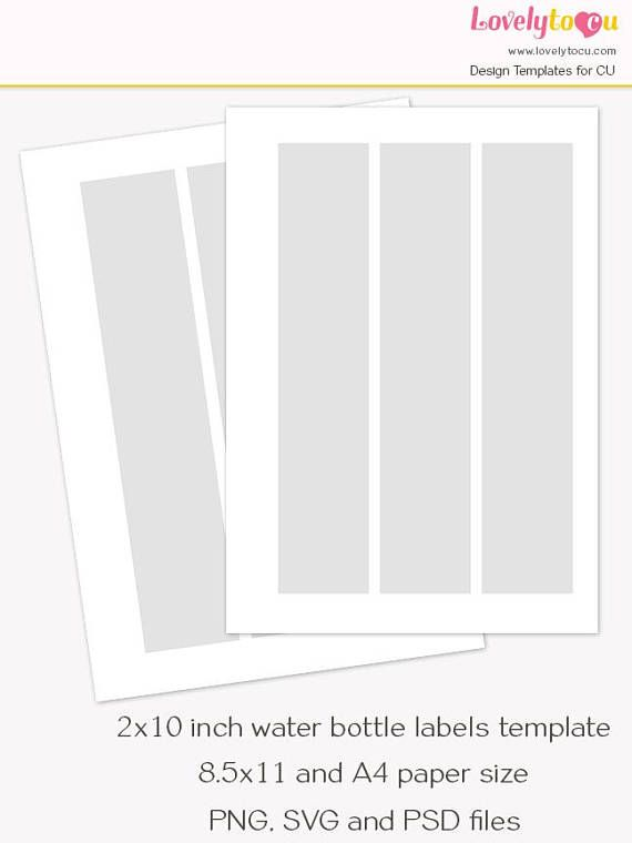 X Inch Water Bottle Label Template Collage Sheet  Lovelytocu
