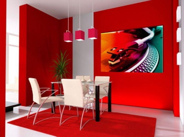 meubles salle manger en couleur rouge avec un tapis rectangulaire