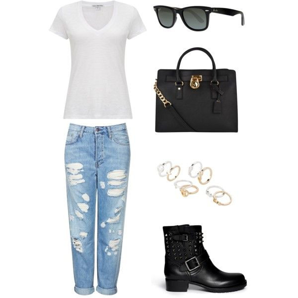 how tO WEAR BOYFRIEND JEANS by cmaepioquinto on Polyvore featuring James Perse, Topshop, Valentino, MICHAEL Michael Kors, MANGO, Ray-Ban and boyfriendjeans