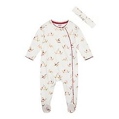 d72876f715bd Baker by Ted Baker - Baby girls  cream seal print sleepsuit and headband set