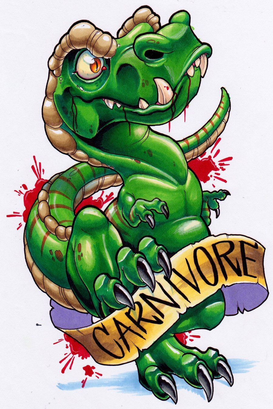 New school tattoo design - Dinosaur Tattoos
