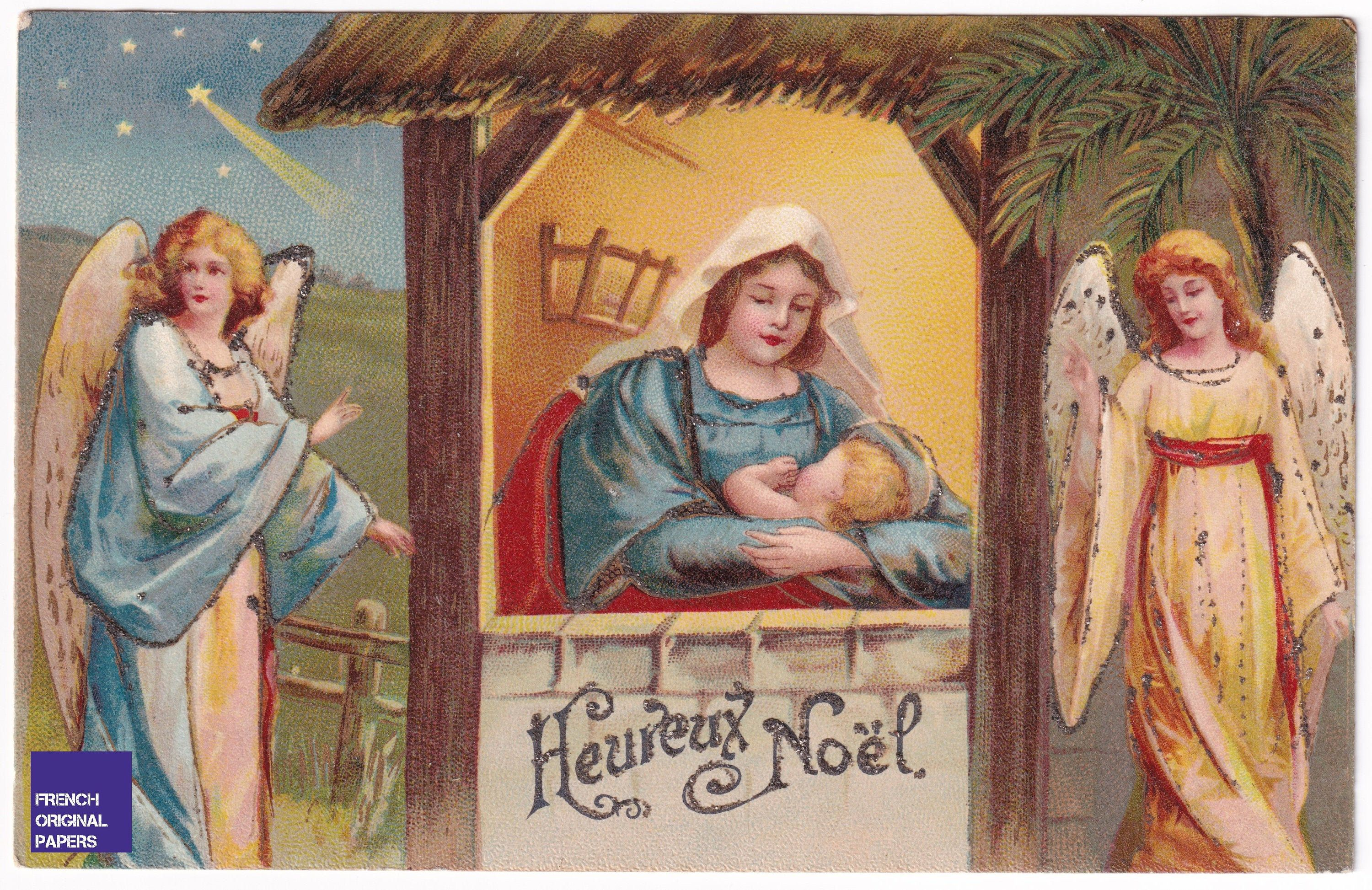 Magnificent Illustrated Antique Postcard 1904 Merry Christmas Vintage French Greeting Card Jesus Angel Baby Child Birth Graphism Ephemera In 2020 Merry Christmas Vintage French Greetings Postcard