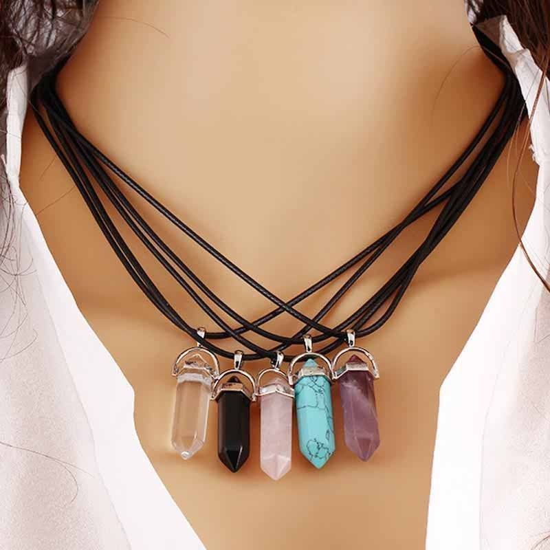 Natural Crystal Stone Chakra Healing Gemstone Pendants Necklaces Jewelry Gifts