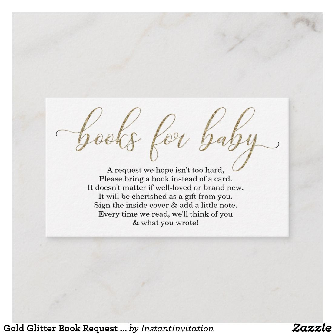 Gold Glitter Book Request Baby Shower Invitation Zazzle Com Baby Shower Invitations Baby Shower Notes Baby Shower Invitation Templates