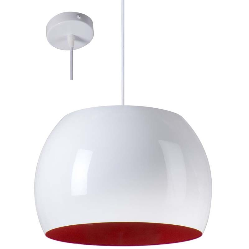 Suspension design blanche et rouge numo luminaire aux for Suspension blanche design