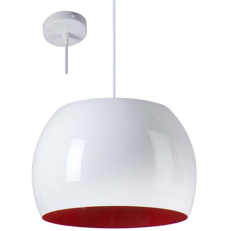 Suspension design blanche et rouge NUMO - Luminaire aux lignes ...