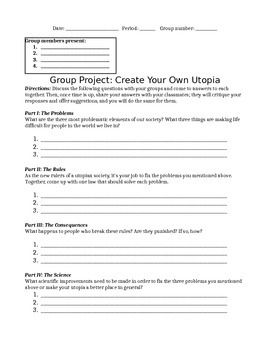 Create Your Own Utopia (The Giver Pre-Reading Activity ...