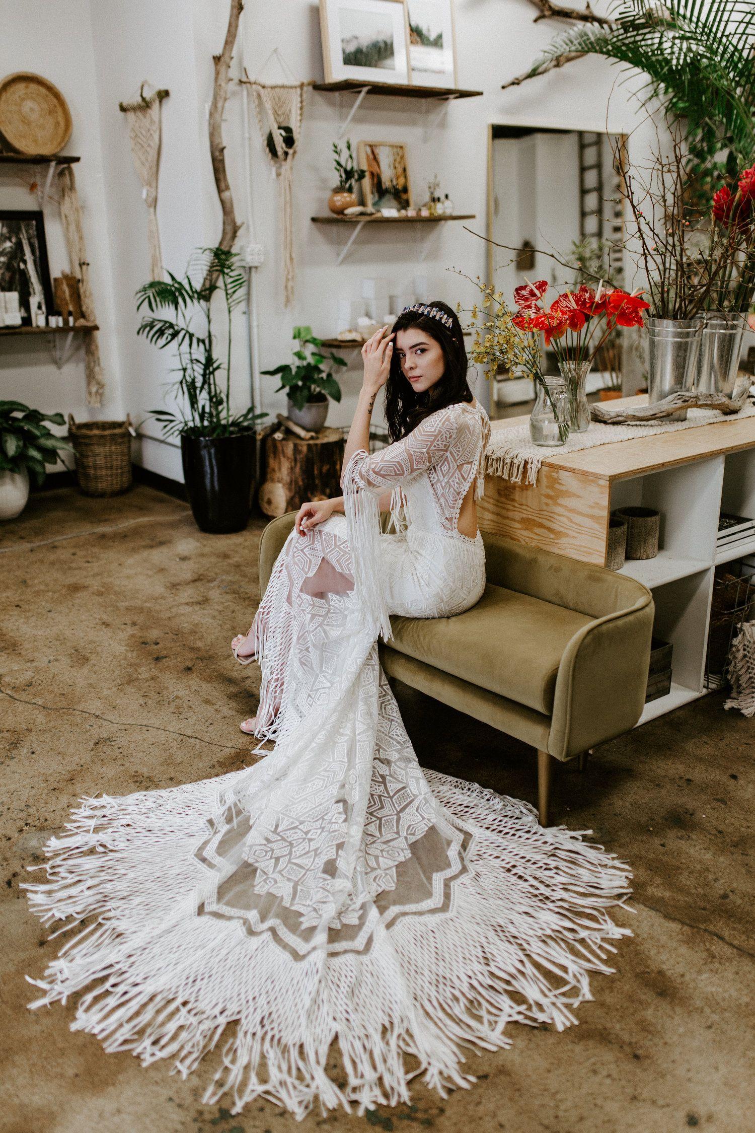 Belle the Bohemian Wedding Dress Fringe wedding dress