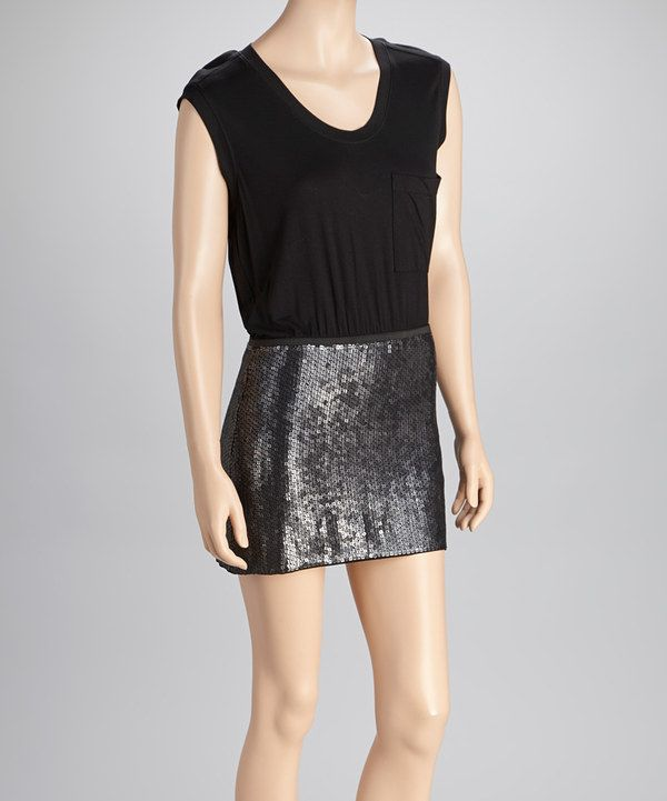 Take a look at this BCBGMAXAZRIA Black Sequin Sleeveless Dress on zulily today!