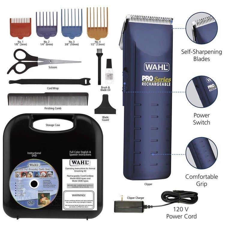 Wahl Pro Series Pet Clipper Grooming Kit Rechargeable Cordless Complete 8552 Ebay Dog Clippers Cat Grooming Tools Pet Grooming