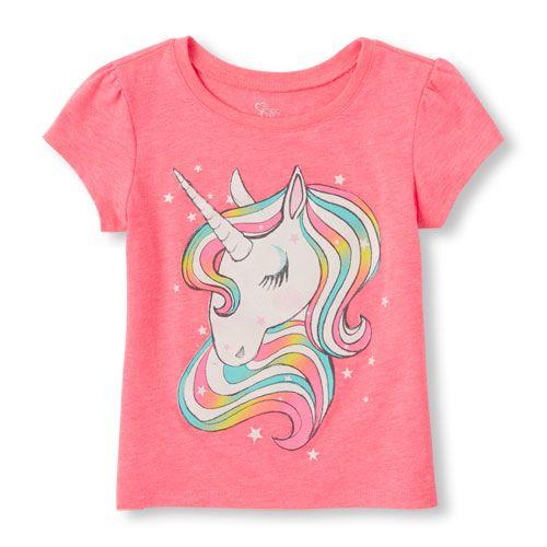 3ffbd13b8ff489 s Toddler Short Sleeve Rainbow Unicorn Glitter Graphic Tee - Pink T-Shirt -  The Children s Place