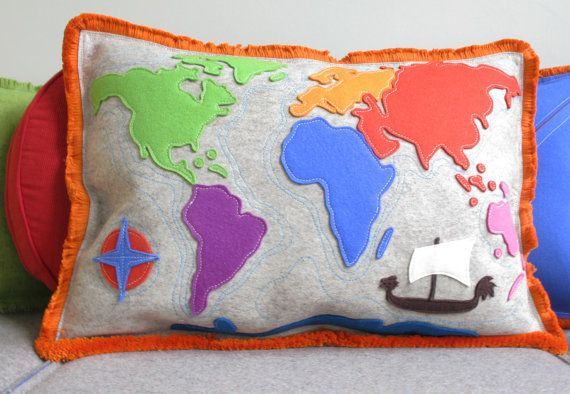 Hey i found this really awesome etsy listing at httpsetsy world map pillow with seven continents in multi color woo felt with orange fringe continent map pillow with pirate ship and compass gumiabroncs Choice Image