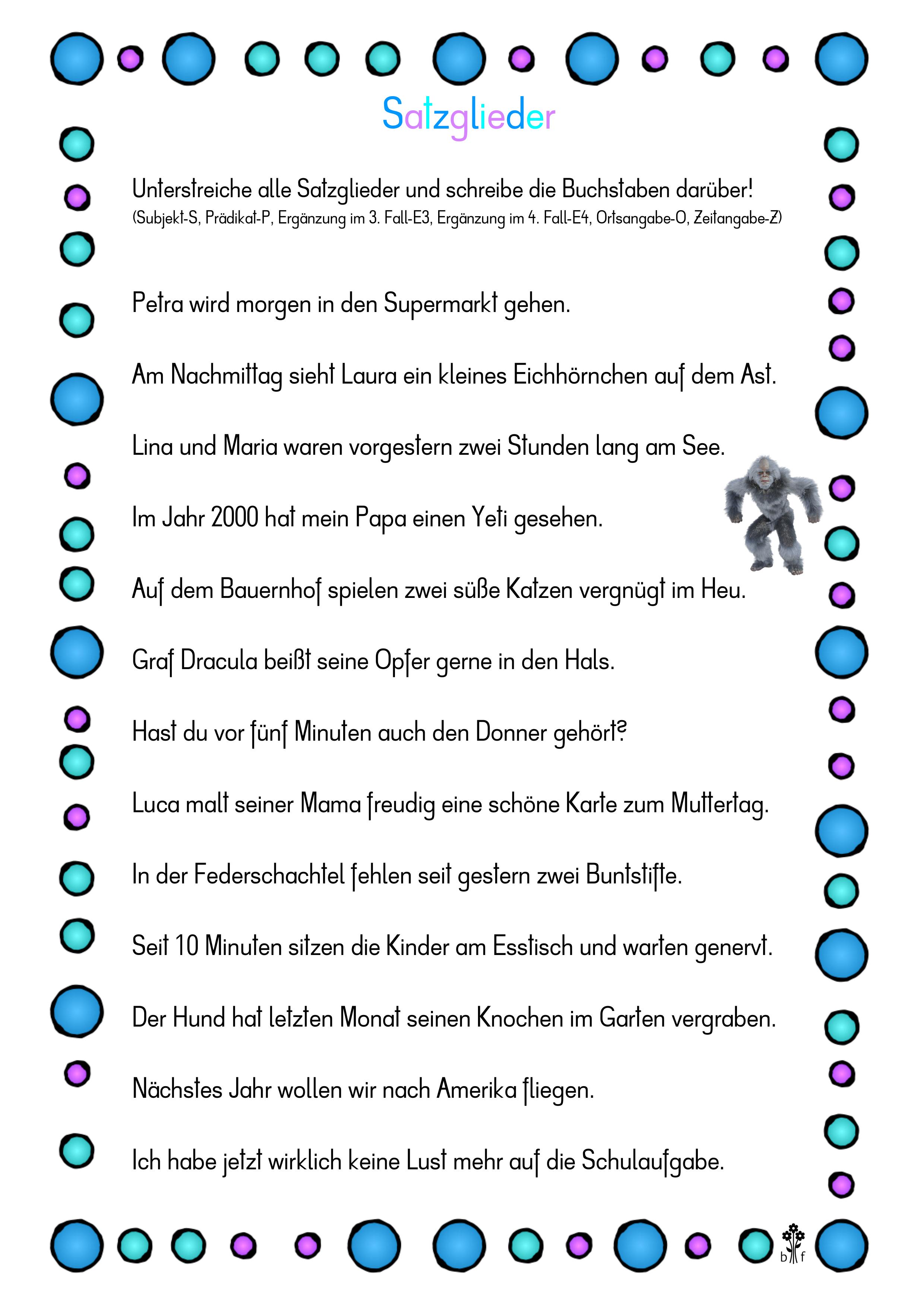 Arbeitsblatt Satzglieder unterstreichen – Unterrichtsmaterial in ...