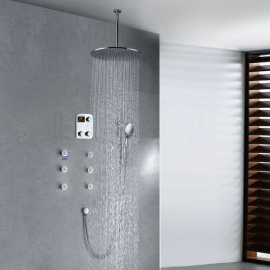 Round Digital Massage Shower Faucet Large Shower Head Luxury