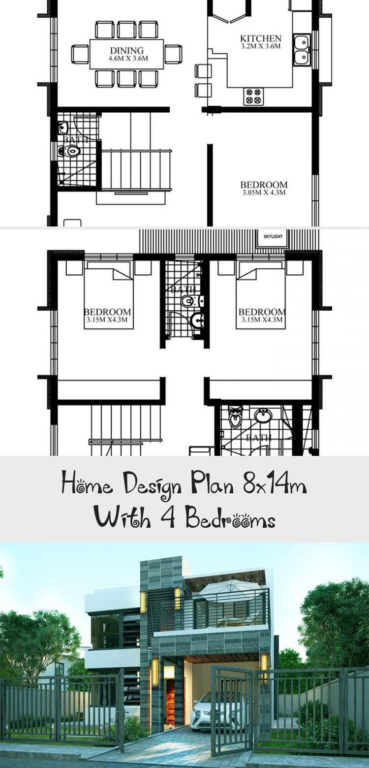 Home Design Plan 8x14m With 4 Bedrooms In 2020 Home Design Plan Modern Architecture Design Modern Architecture