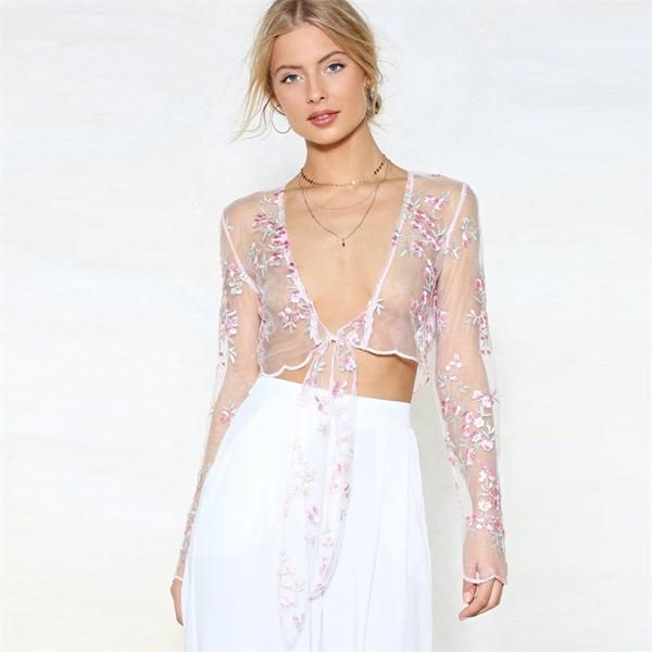891bf90c966 Flower Embroidery Sheer Mesh Tie-up Crop Top in 2019   Shopping ...