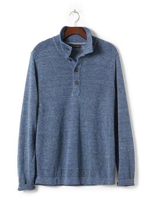 Made From Mock Men's Crafted Italian Finely Is Pullover Our Blue wpYOqwX