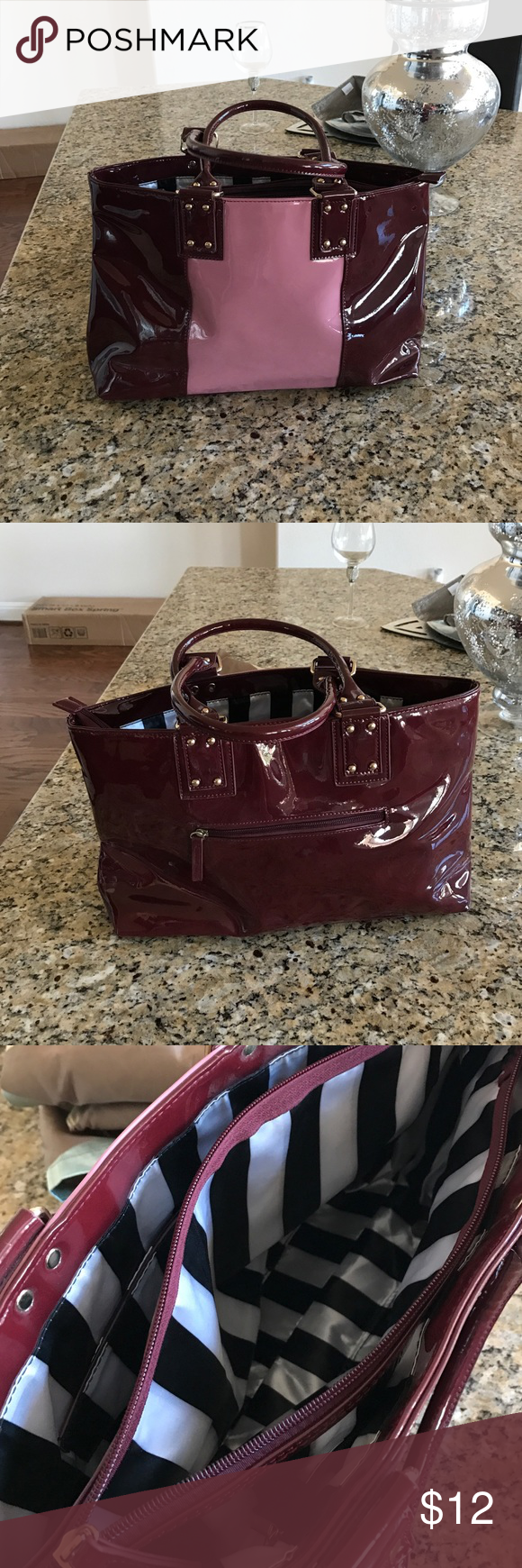 Wine and pink patent leather purse Like new condition. Carried once Charming Charlie Bags