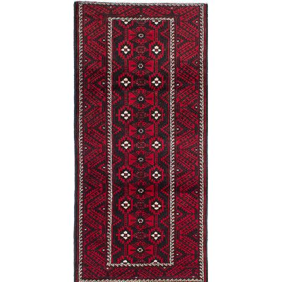 ECARPETGALLERY One-of-a-Kind Finest Baluch Hand-Knotted Red/Black Area Rug