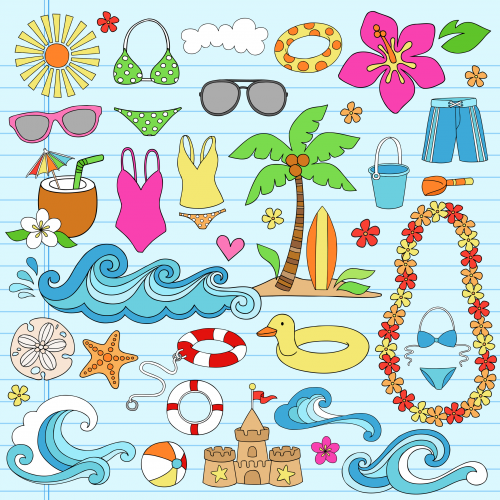 Summer Fun Clipart | Beach illustration, Doodle images ...