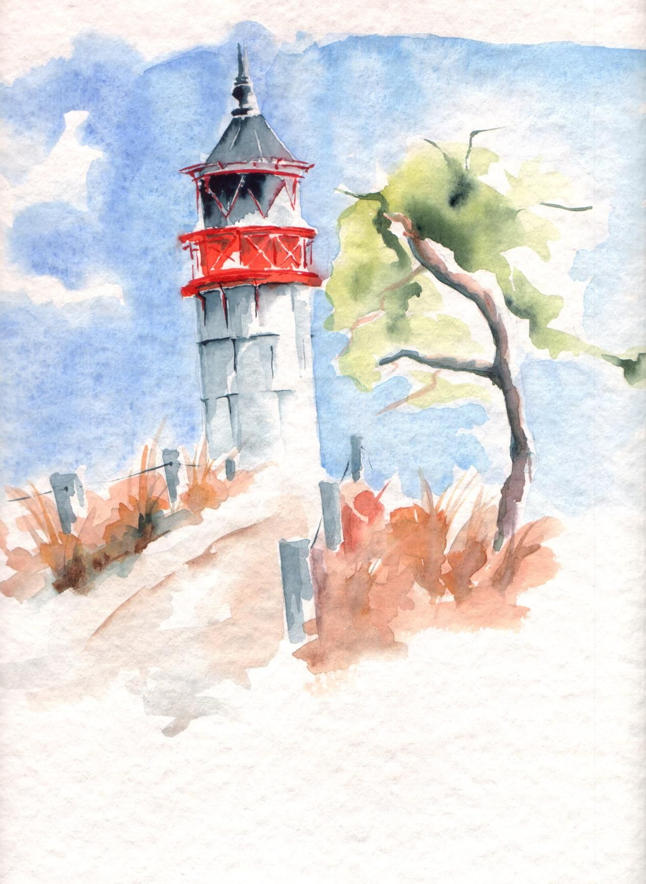 Lighthouse Watercolour Leuchtturm Aquarell Marko E