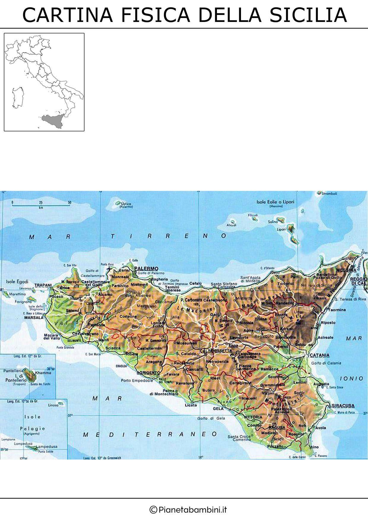 Foto Cartina Sicilia.Cartina Fisica Sicilia Sicilia Sicilia Italia Mappa Dell Italia