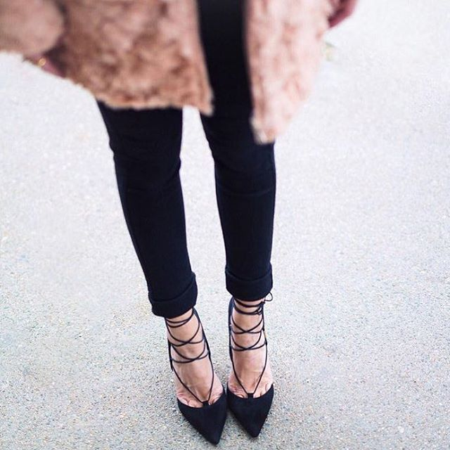 121bea42f6c48 Our favorite pointed toe lace-up heels. // Follow @ShopStyle on Instagram  to shop this look