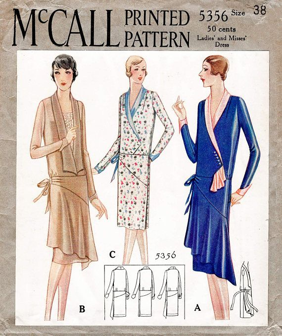 1920s 20s historic dress vintage sewing pattern reproduction // 3 ...