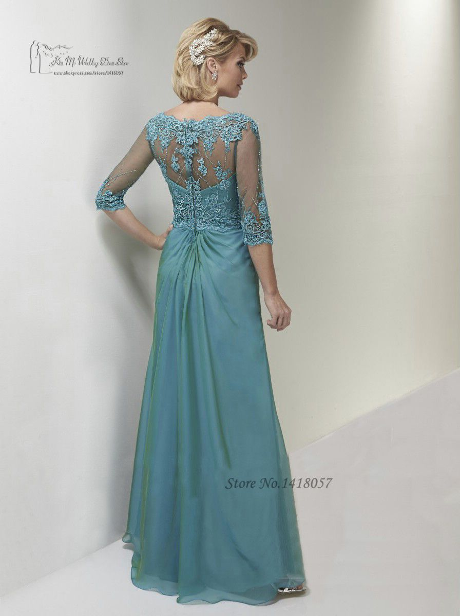 Turquoise Plus Size Mother of the Bride Dresses Lace Evening Party ...