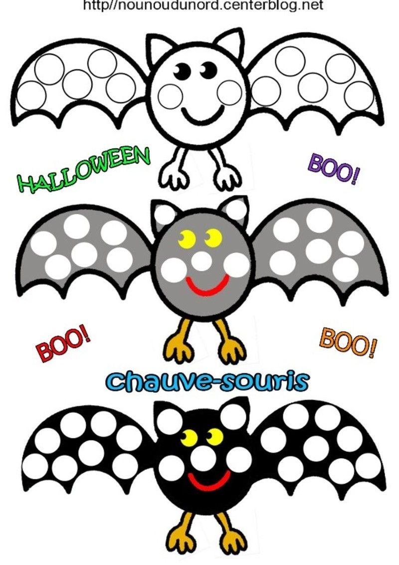 Chauve Souris à Gommettes Coloriage Halloween Activité