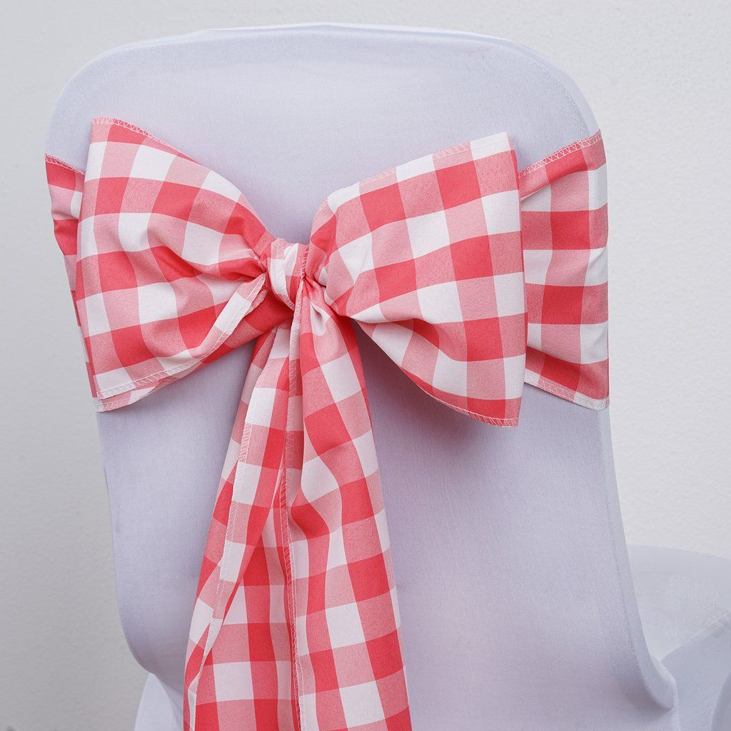 Gingham Chair Sashes 5 Pcs Coral White Buffalo Plaid Checkered Polyester Chair Sashes With Images Chair Sashes Wedding Chair Sashes Gingham Decorations