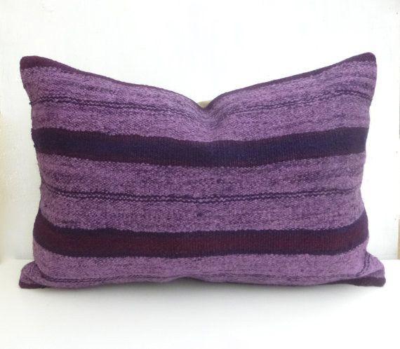 Purple Kilim Lumbar Pillow with Stripes 60x40 cm
