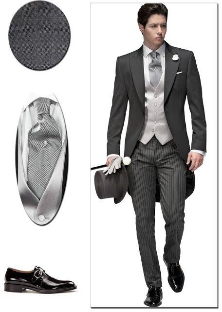 Ottavio Nuccio Gala trajes de novio y ceremonia. Traje de novio chaqué fil  a fil gris medio coordinado con pantalón de étiqueta f119fb1d10f
