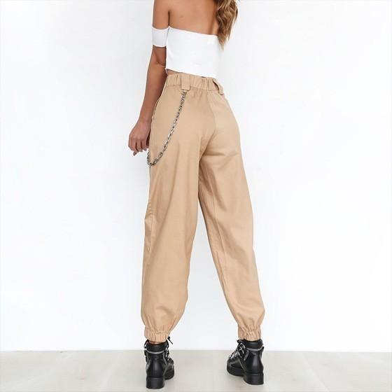a3183c7b Khaki Plain Chain Zipper Pockets High Waisted Casual Long Pants in ...