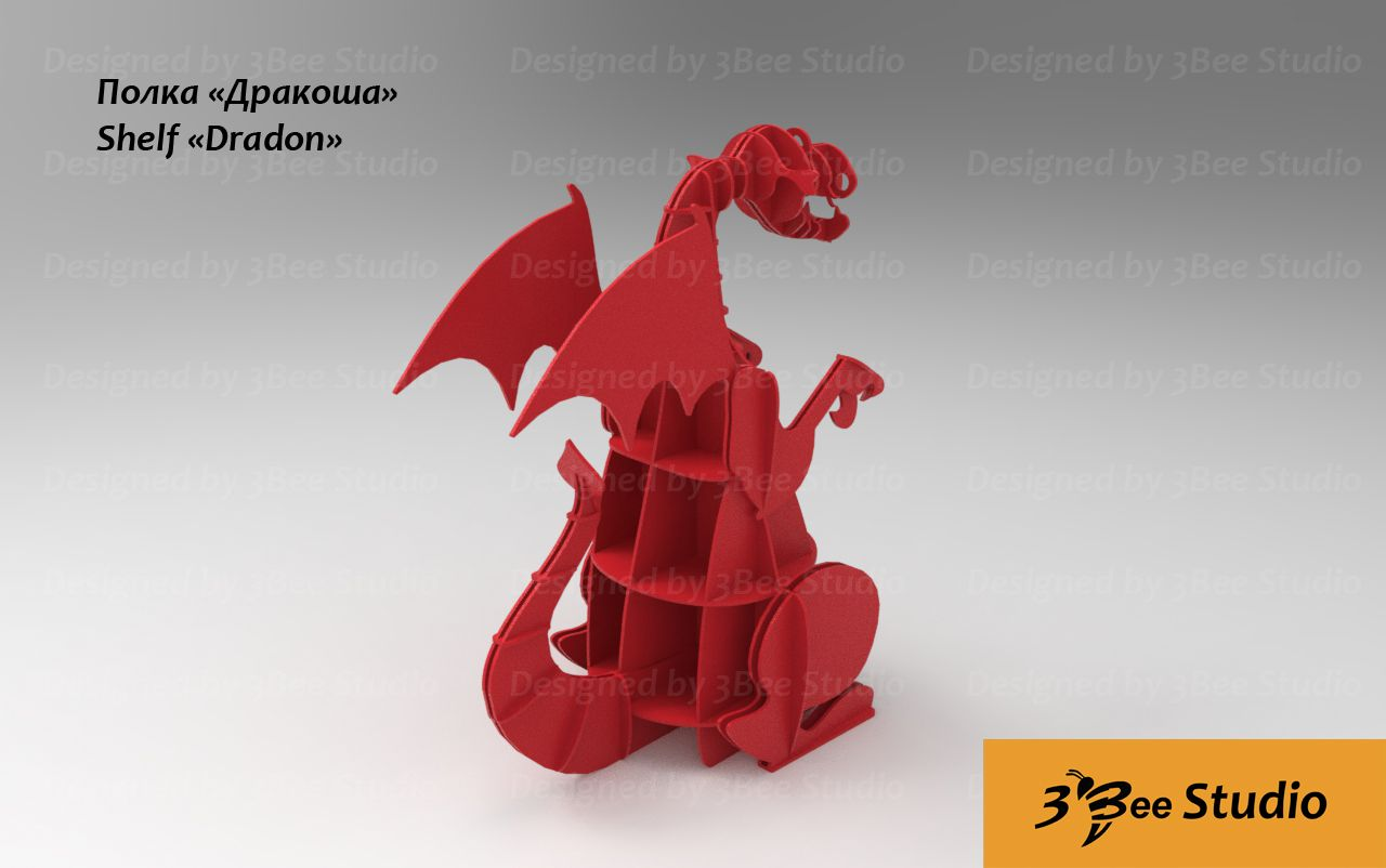 Dragon Shelf Plan Vector File For Cnc 3bee Studio Shelves  # Beestudio Muebles