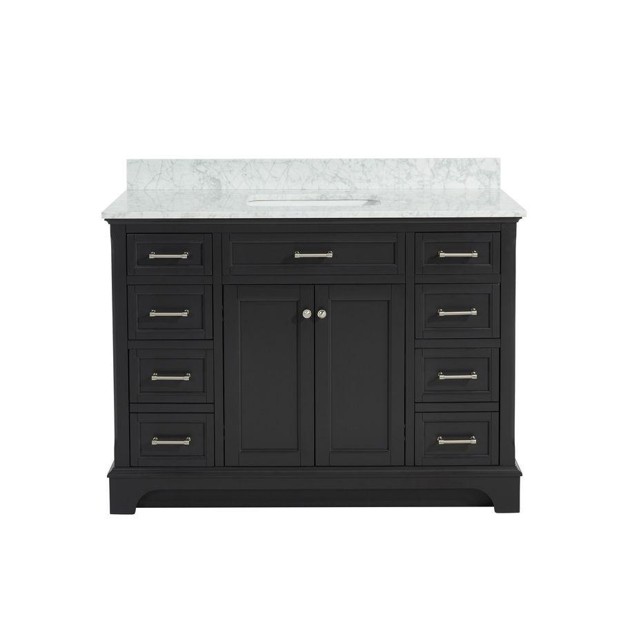 e226d335008 allen + roth Roveland Gray 48-in Undermount Single Sink Birch Poplar  Bathroom Vanity with Natural Marble Top