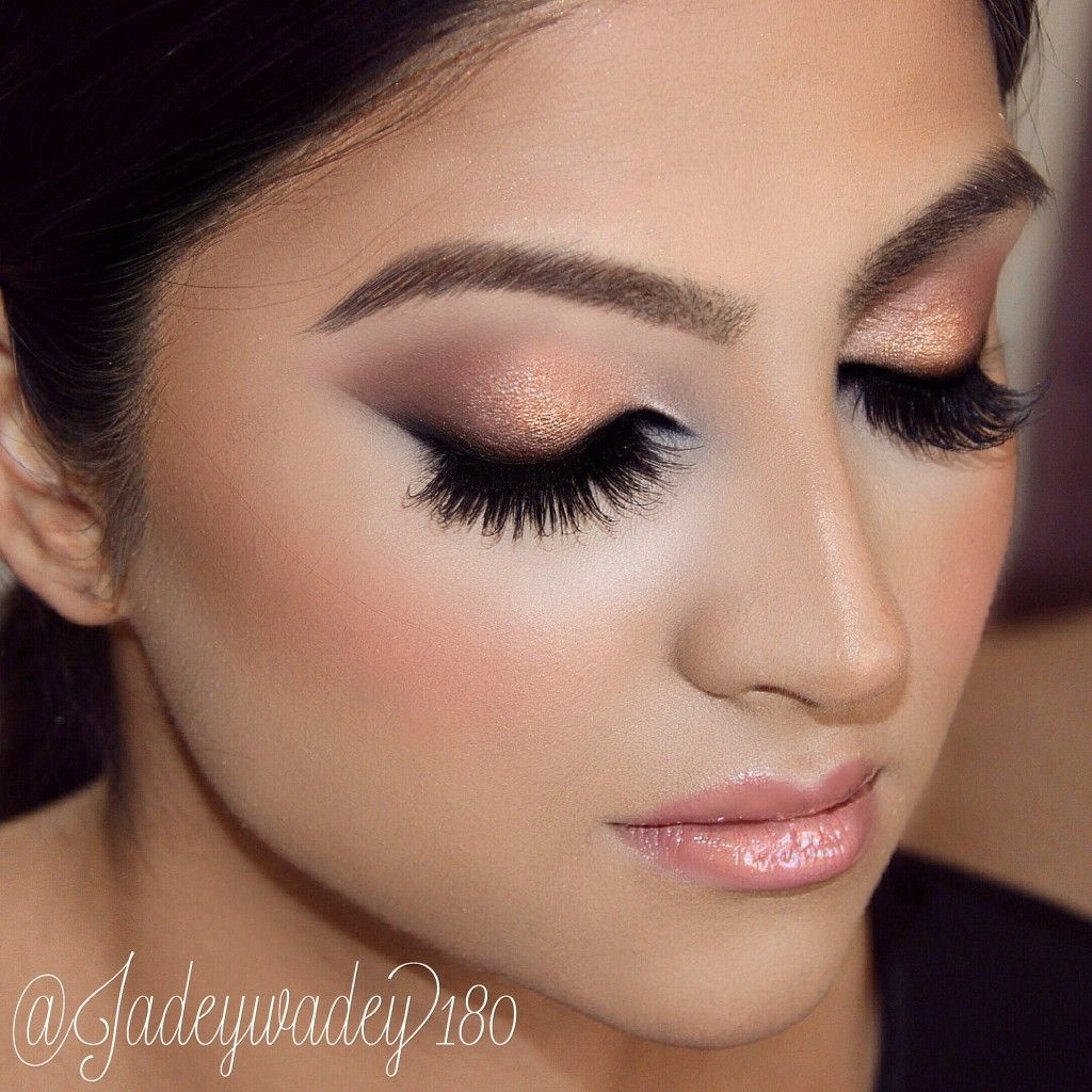 Indian Bridal Makeup Double Winged Liner Copper Smokey Glitter