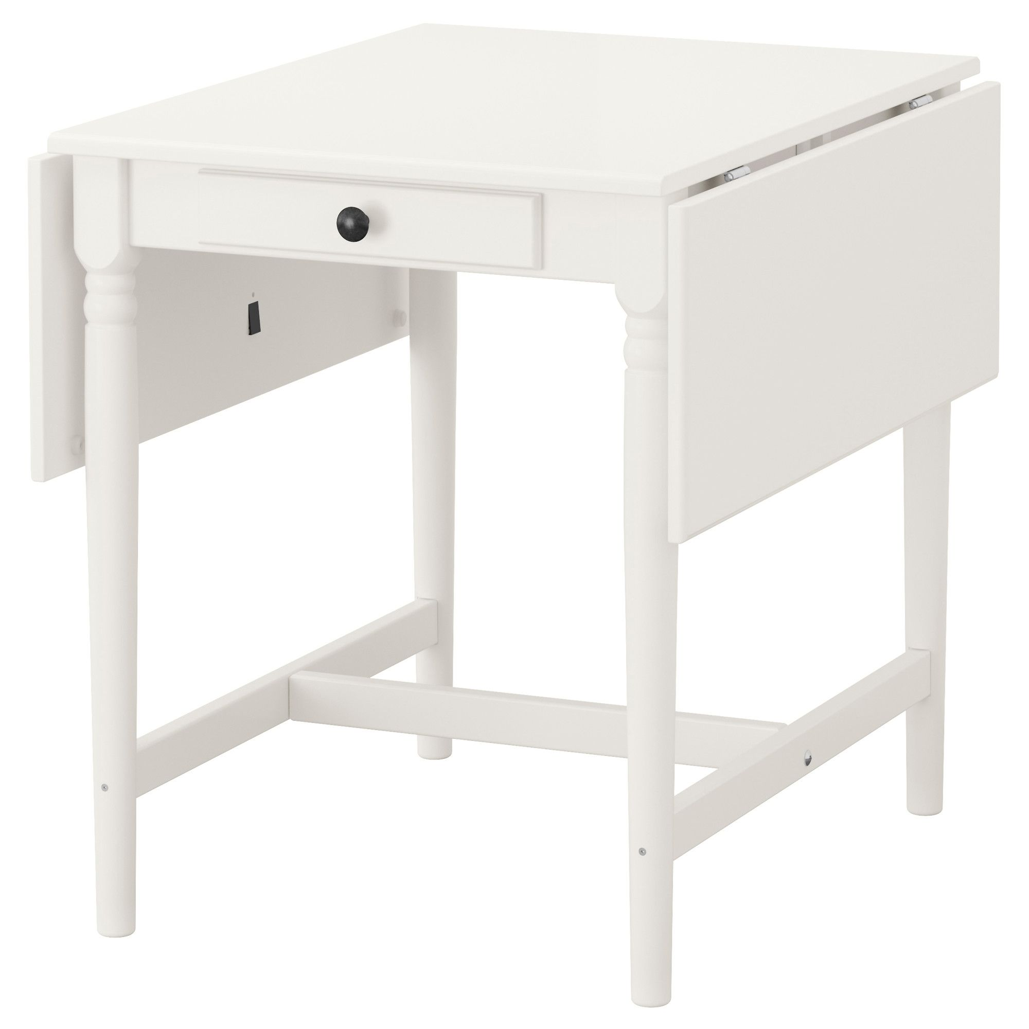 IKEA INGATORP drop-leaf table The clear-lacquered surface is easy to ...