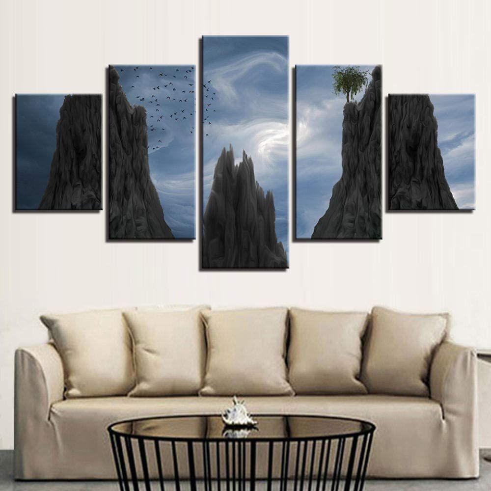fasiou leinwand malerei wohnzimmer dekor hd druck 5 stuck blue sky mountain tree birds poster modulare abstrakte bild leinwandbilder bilder wandkunst foto nach maß bilderdruck auf