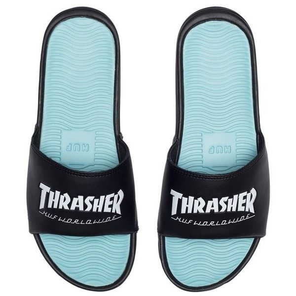 49527d456155 HUF Thrasher Slides ( 40) ❤ liked on Polyvore featuring shoes