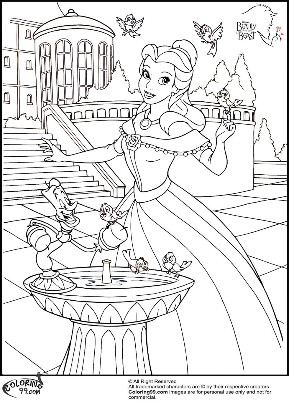 Princess house coloring pages - Disney Princess Belle Coloring Pages