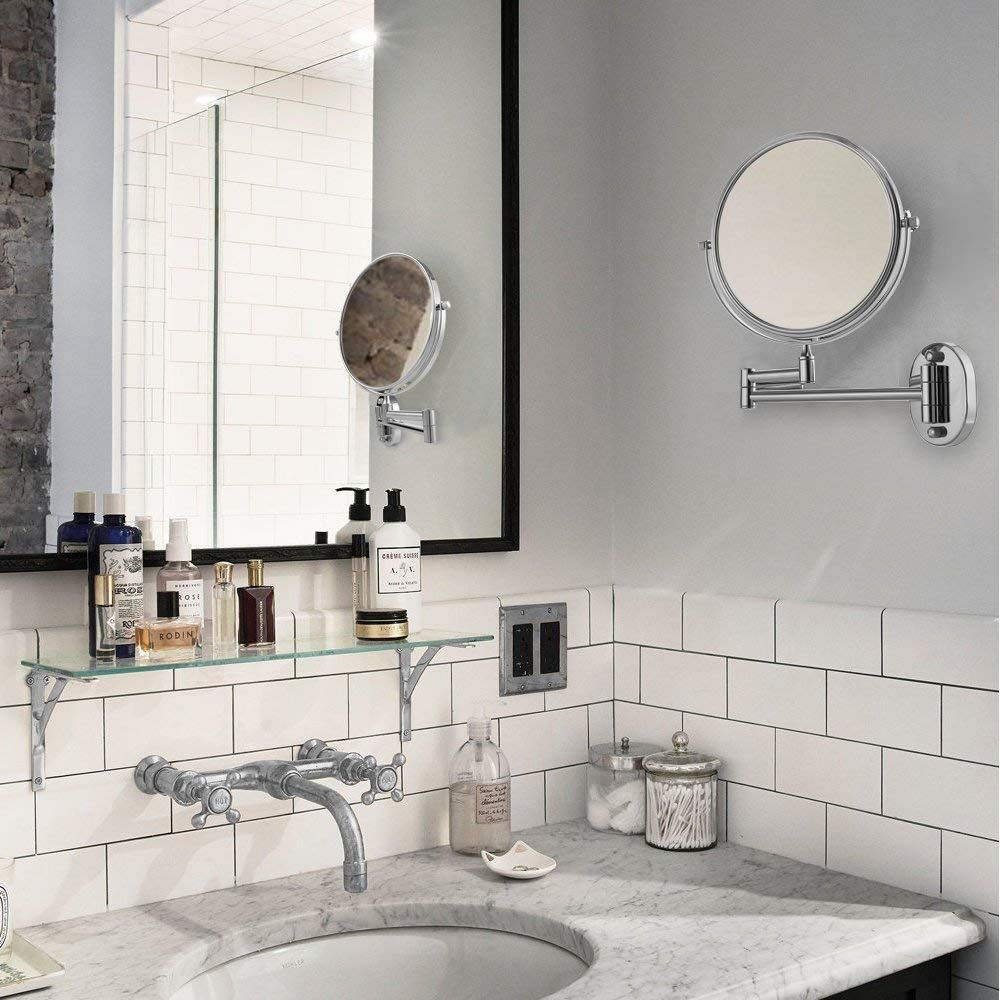 Cozzine Wall Mount Makeup Mirror 7x Magnifying Two Side Vanity Extendable Bathroom Mirr Wall Mounted Makeup Mirror Extendable Bathroom Mirrors Bathroom Mirror