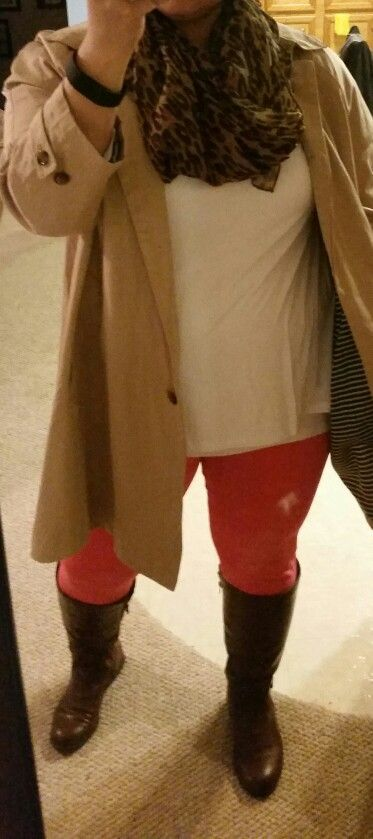 Tan mid length trench coat Amazon.com, pink leggings Walmart, brown riding boot, leopard print scarf. White Tee #pinkleggingsoutfit #camel #boots #leopardscarf #winter #fall #work