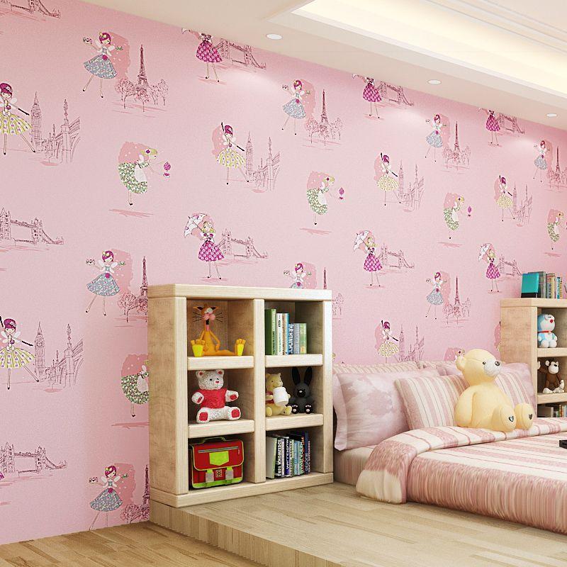 10m 53cm Cute Kids Room Non Woven Wallpaper Ballet Princess Room Cartoon Wall Paper Korean Pink Bedroom Boys Kids Room Wallpaper Pink Living Room Princess Room