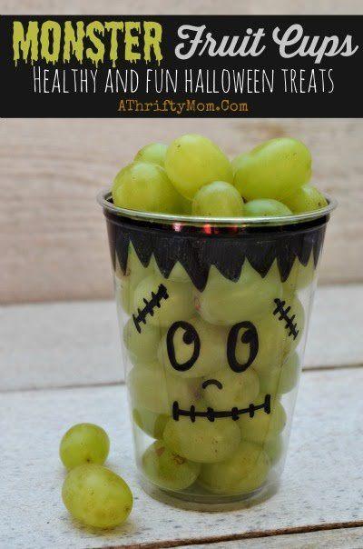 Healthy Halloween treat ideas, Monster Fruit Cups, school party - fun halloween food ideas